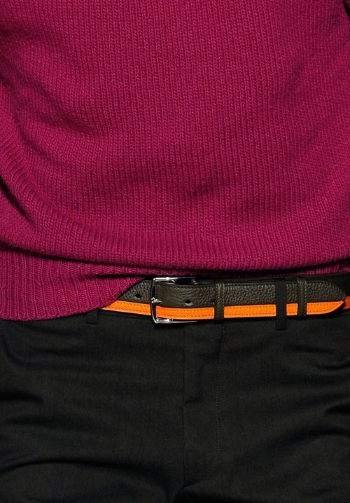 A classic #Hermès orange & brown leather belt clashes with cerise knitwear #PFW