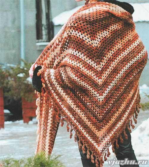 вязание шали крючком для начинающих схемы и описание Crochet