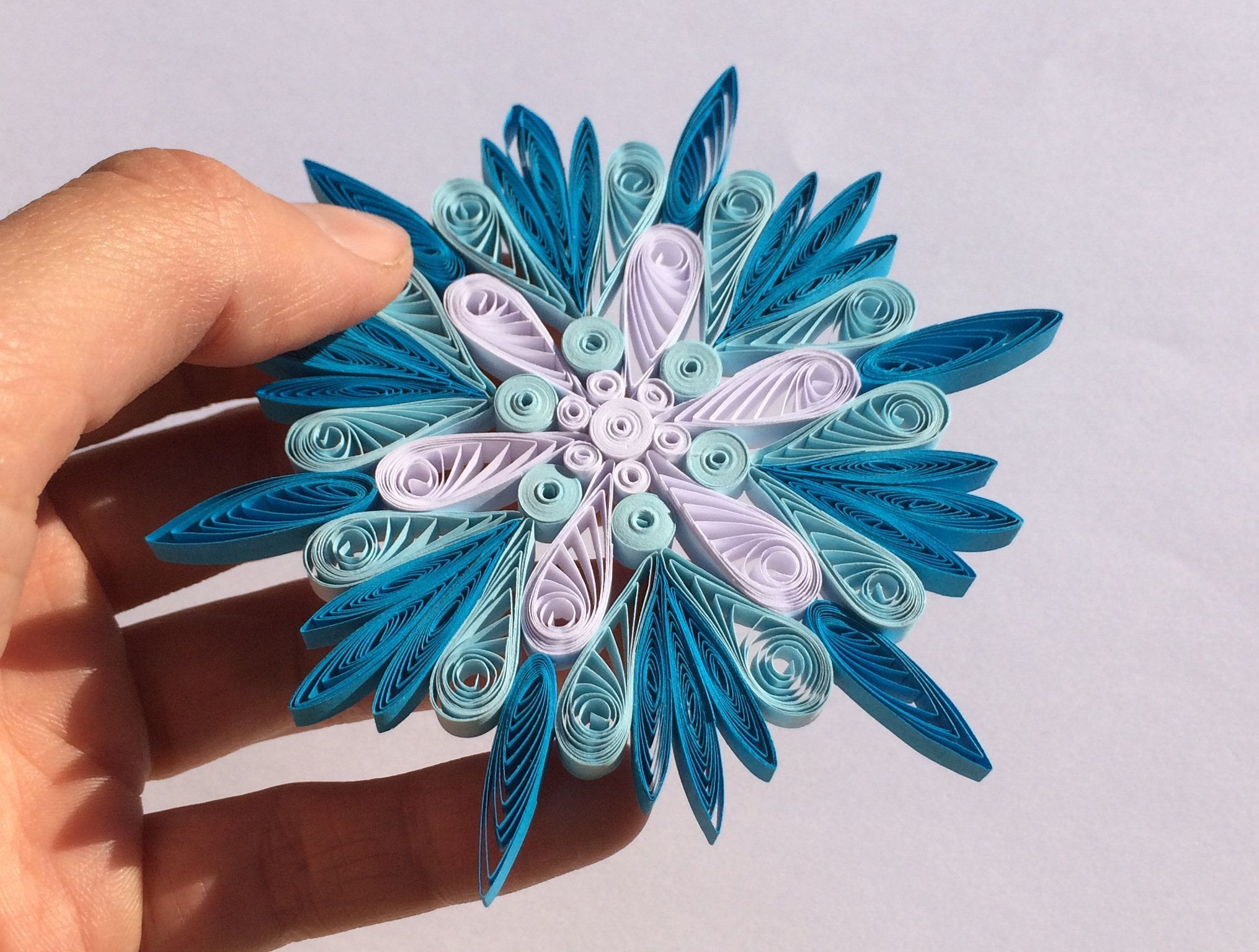 Snowflake Blue White, Quilled Handmade Art, Paper Quilling, Home Decoration  Idea, Christmas
