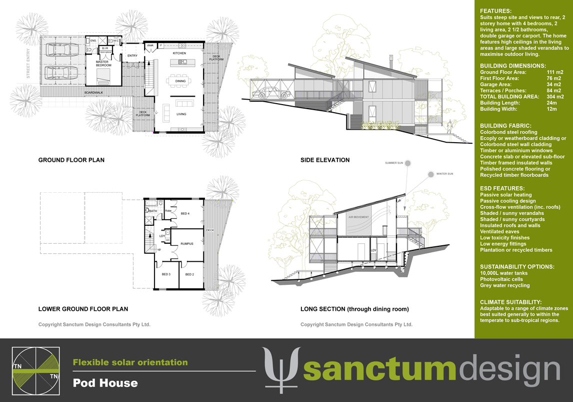 Sanctum design environmentally responsible home design Floor plans for sloping blocks