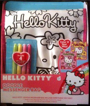 Hello Kitty Doodle Messenger Bag with 4 Ultra Bright Markers 3e55a19084ae7