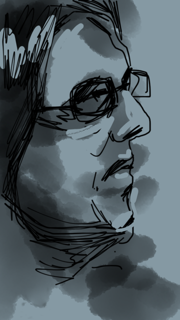 the guy in metro     drawing  on iPhone