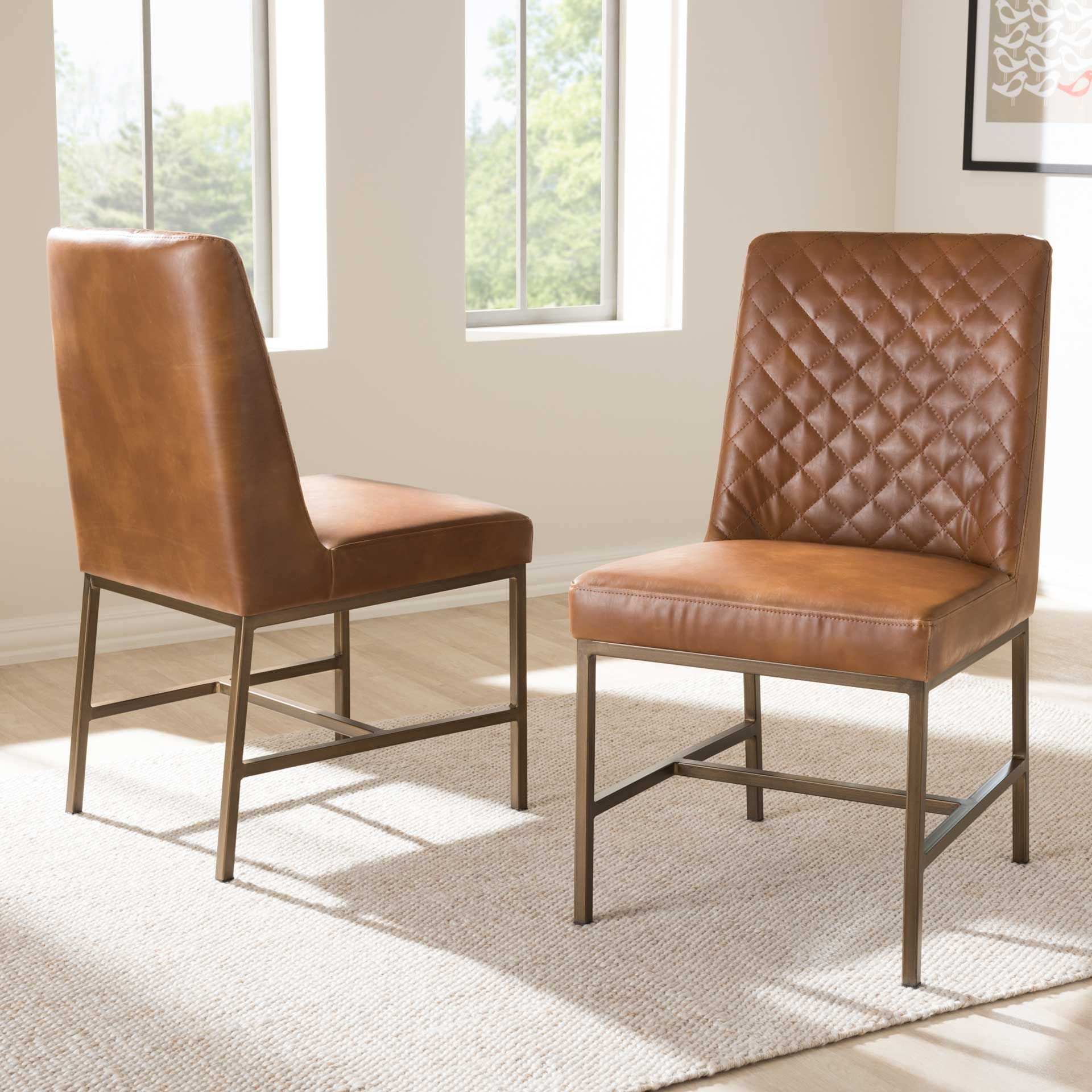 Mabelle Faux Leather Dining Chair Brown Set Of 2 In 2021 Faux Leather Dining Chairs Leather Dining Chairs Leather Dining Room Chairs