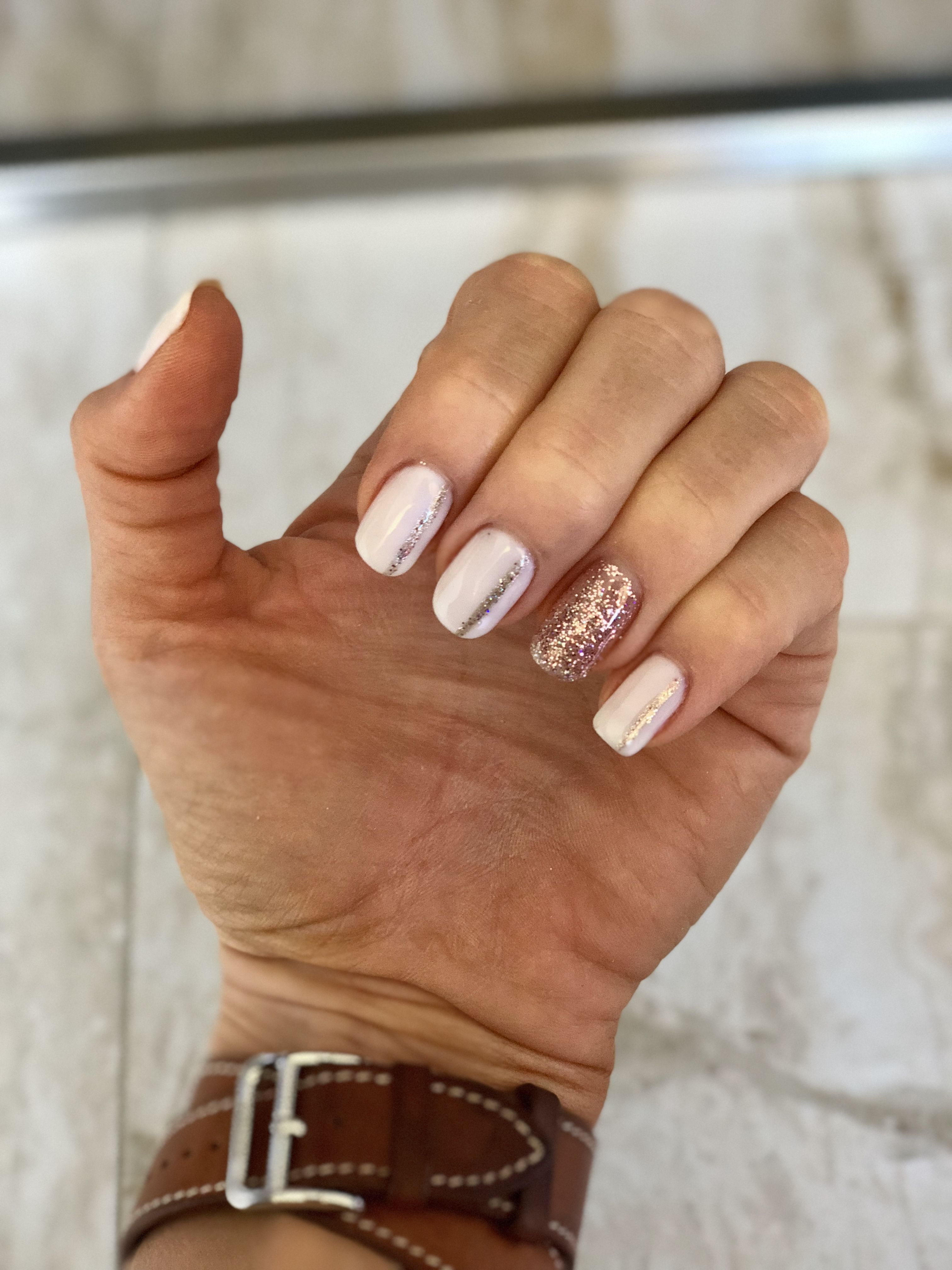 White Nails With Rose Stripe And Accent Nail Nail Art Design Misc