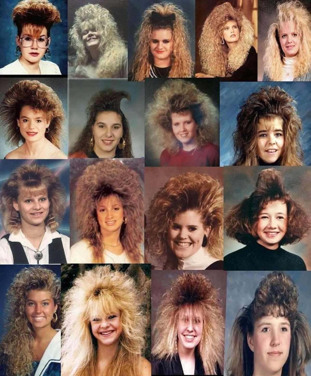 1980s hairstyles.