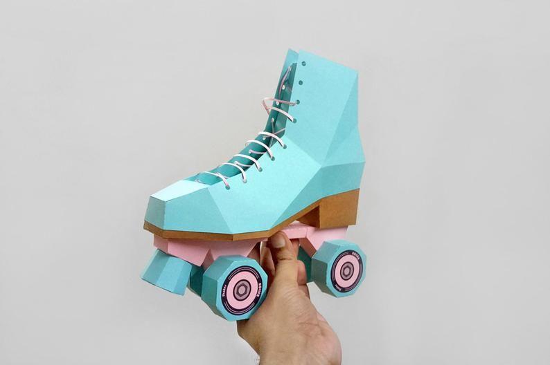 Diy Papercraft Roller Skate Shoescanvas Shoeskate Shoes3d Etsy Roller Skate Shoes Paper Shoes Roller Skate