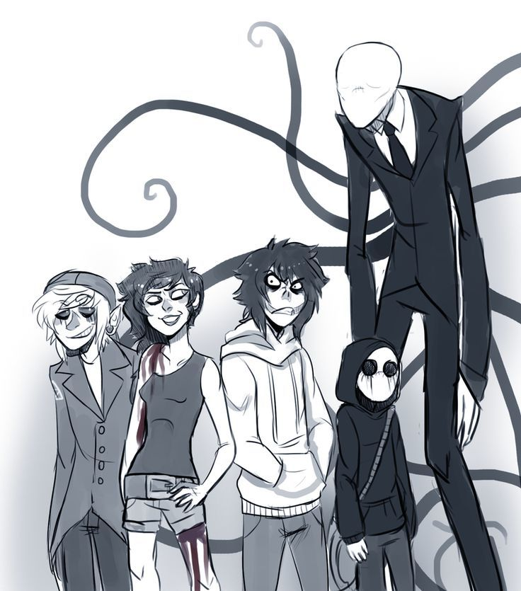 Jeff, Jack, Ben, Jane and poor old Slender man X'D   Creepypasta