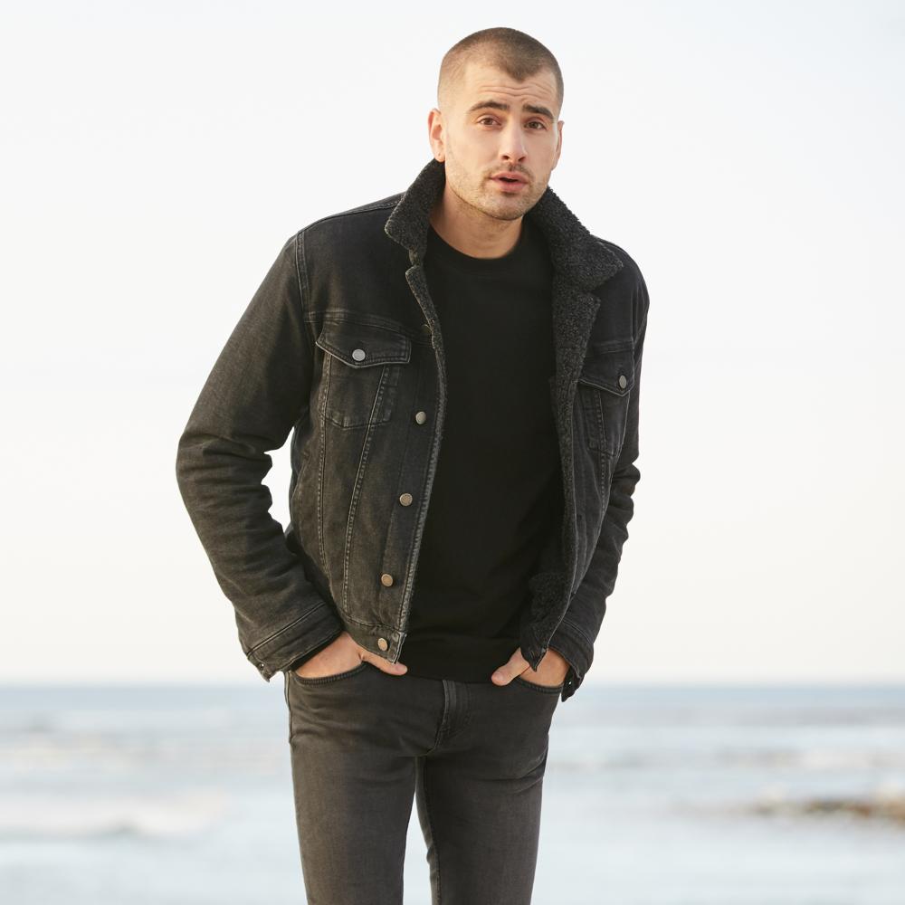 Sherpa Denim Jacket in Black in 2020 Denim outfit men