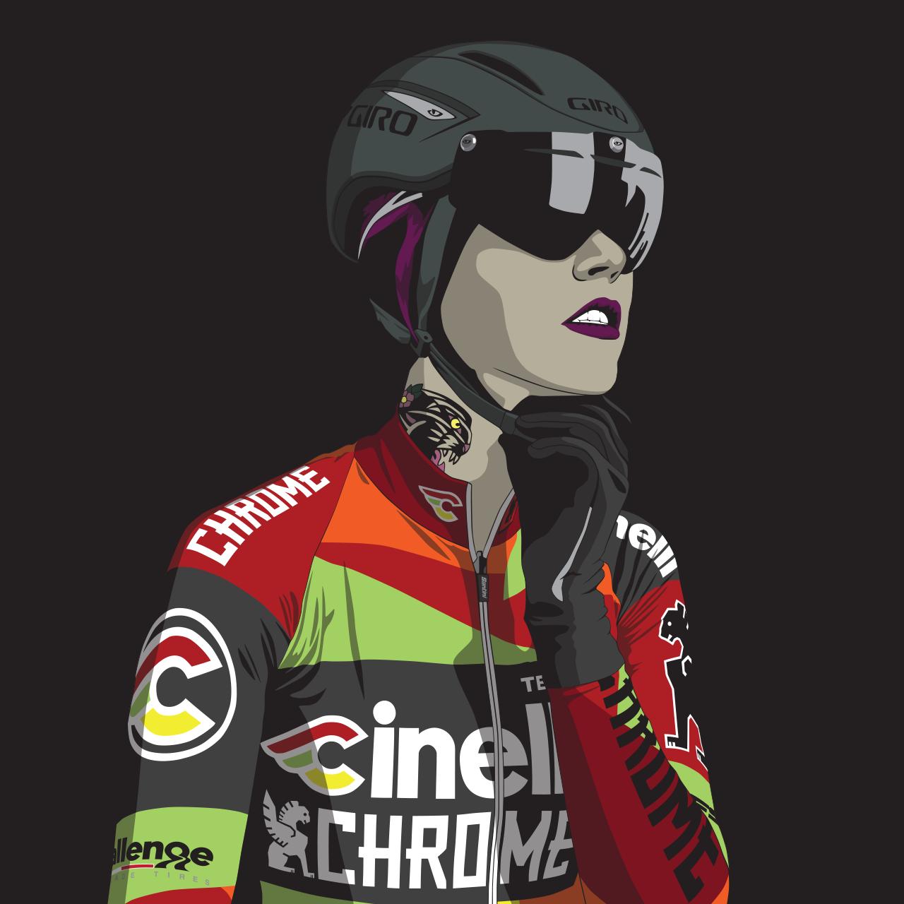 Kelli Samuelson from Team Cinelli Chrome. Illustration by JIMONCO. Original photo by Meg McMahon.