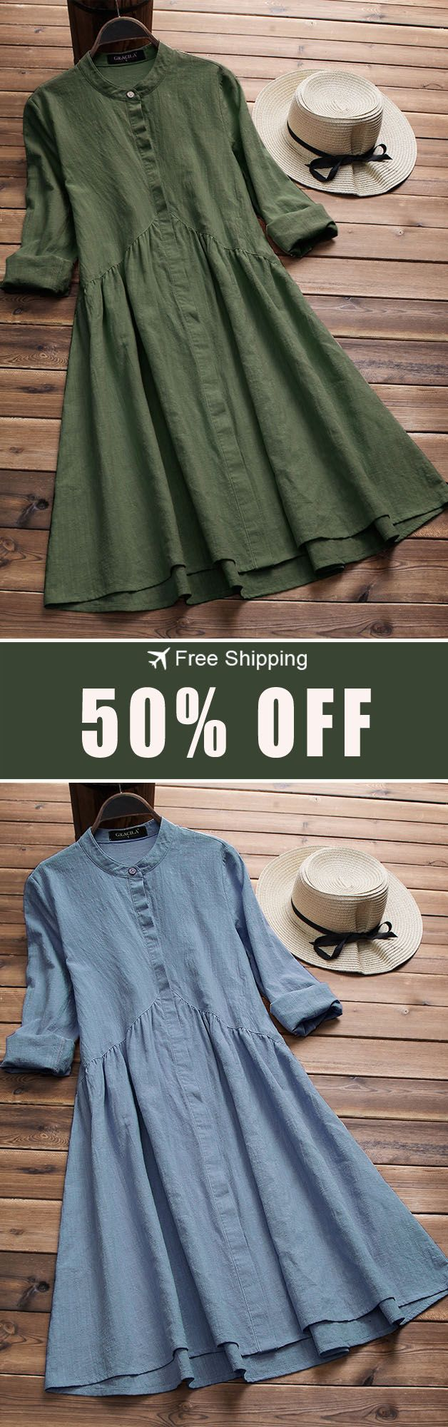 50%OFF&Free shipping. Vintage Women Cotton Stand Collar Pleated Long Sleeve Dress #thingstowear