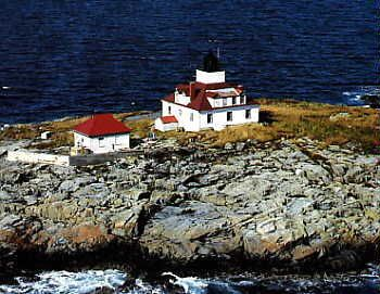 Egg Rock Light is a lighthouse on Frenchman Bay, Maine. It was established in 1875. The structure is unusual—the brick light tower is in the middle of the white wood frame keeper's house. Egg Rock Light was listed on the National Register of Historic Places as Egg Rock Light Station on January 21, 1988, reference number 87002270.[4]