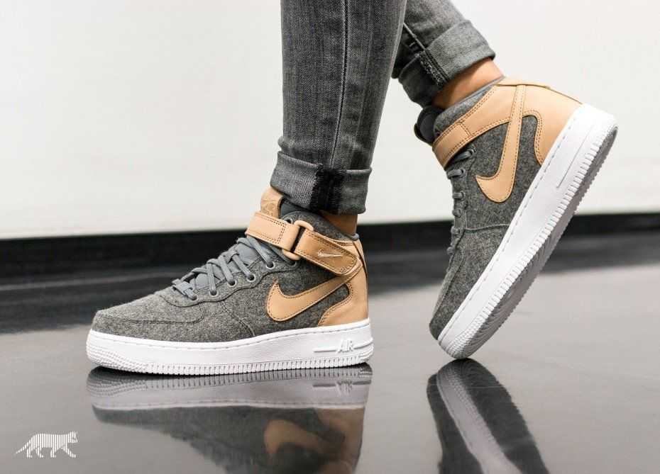 9ae427fad48a Nike Wmns Air Force 1  07 Mid Leather PRM (Cool Grey   Cool Grey - Vachetta  Tan - White)