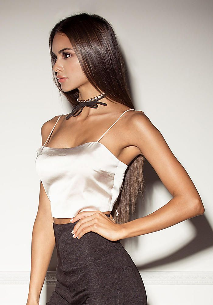 07f1b7c0585 Champagne Satin Tie Back Crop Top - Sophia Miacova for Love Culture -  SOPHIA x LC