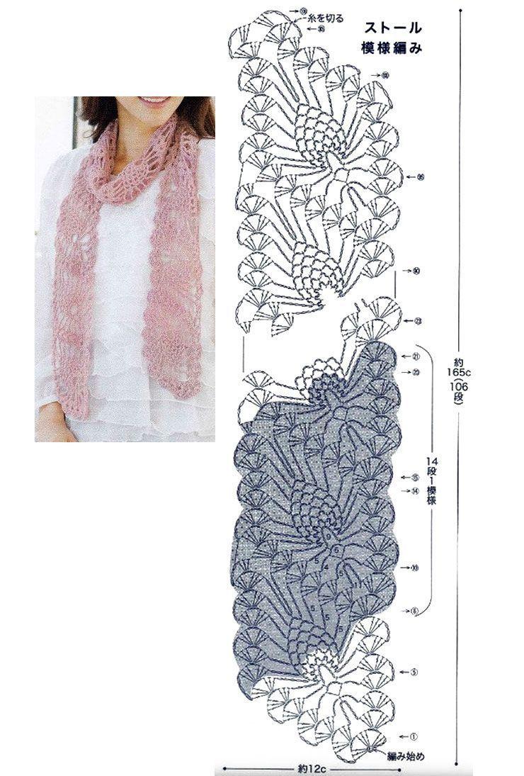 Картинки как вязать шарф крючком