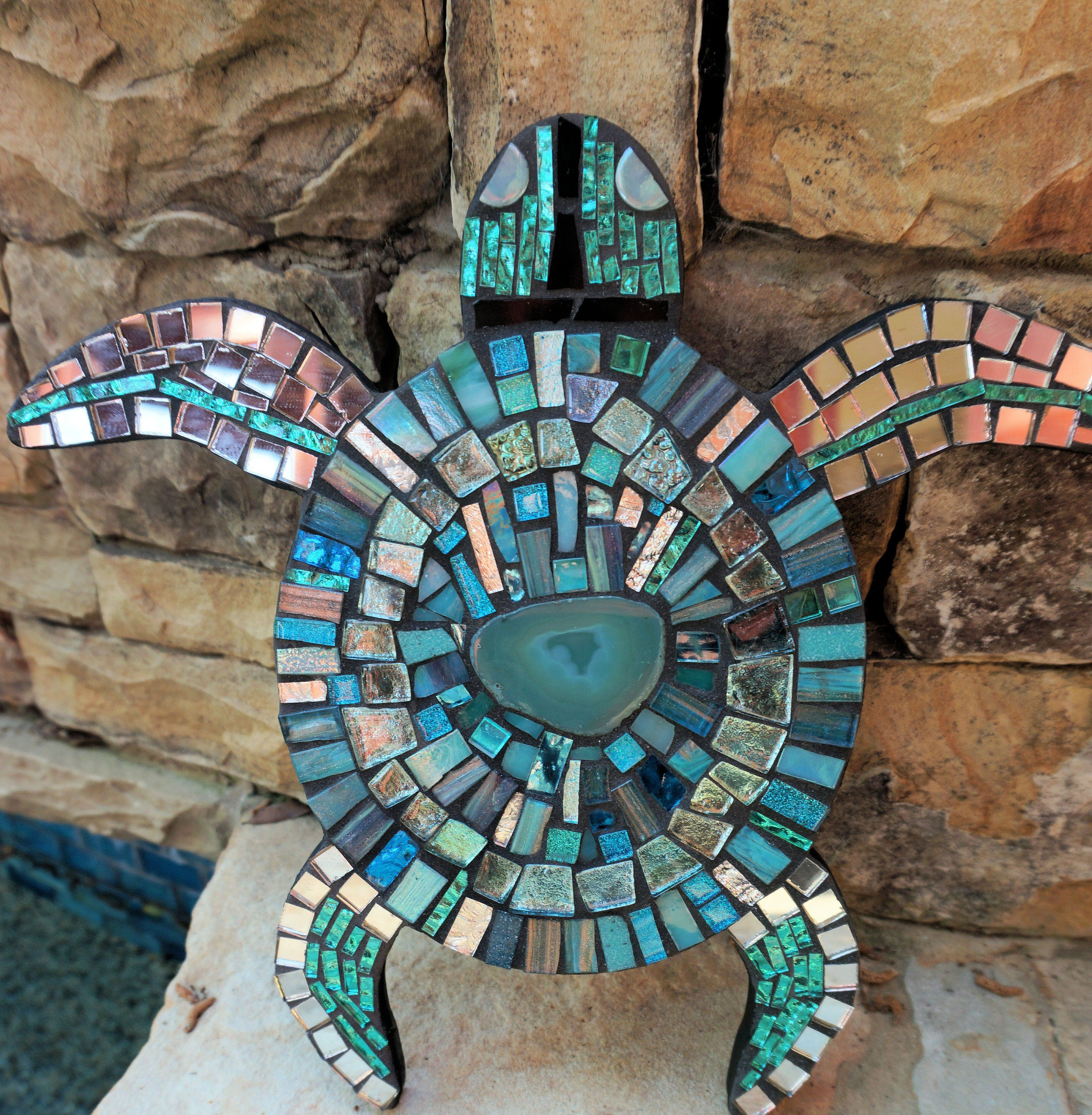 Mosaic Turtle Wall hanging logger head Sea art BLUE stained glass decor  mirrored ceramic agate tile CUSTOM Made to Order