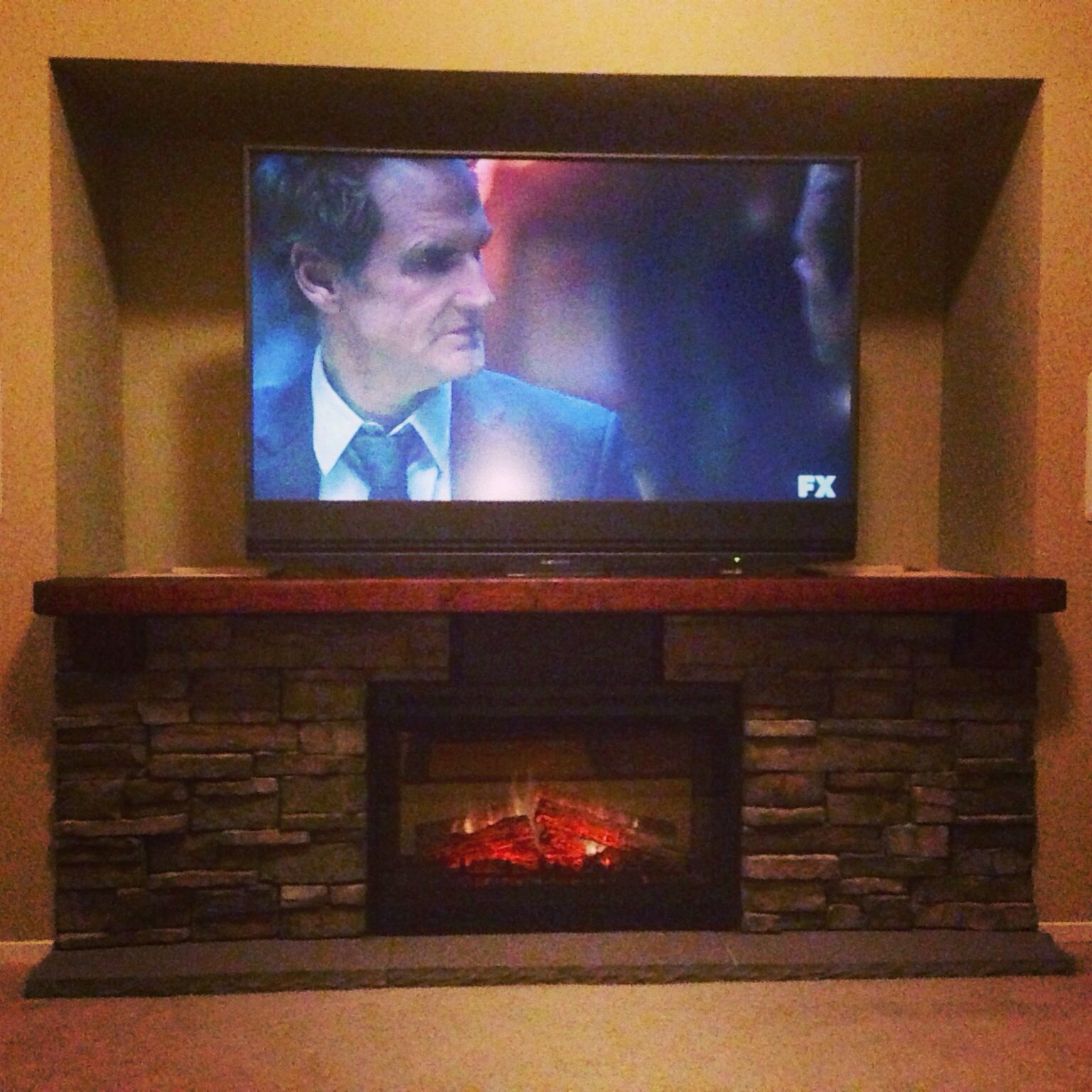 Diy Electric Fireplace Hearth Tv Stand The Components Are Hidden Behind The Stonework And Fireplace Tv Stand Electric Fireplace Tv Stand Tv Stand Designs
