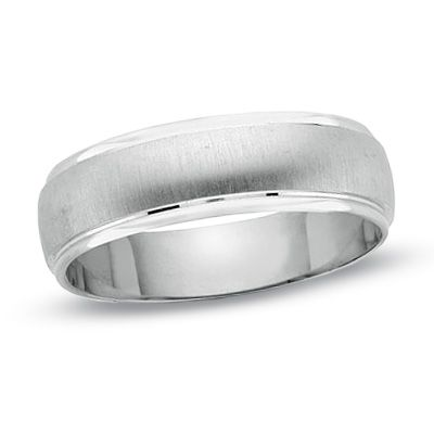 Mens Satin Finish Wedding Band In 14K White Gold With Polished Edge