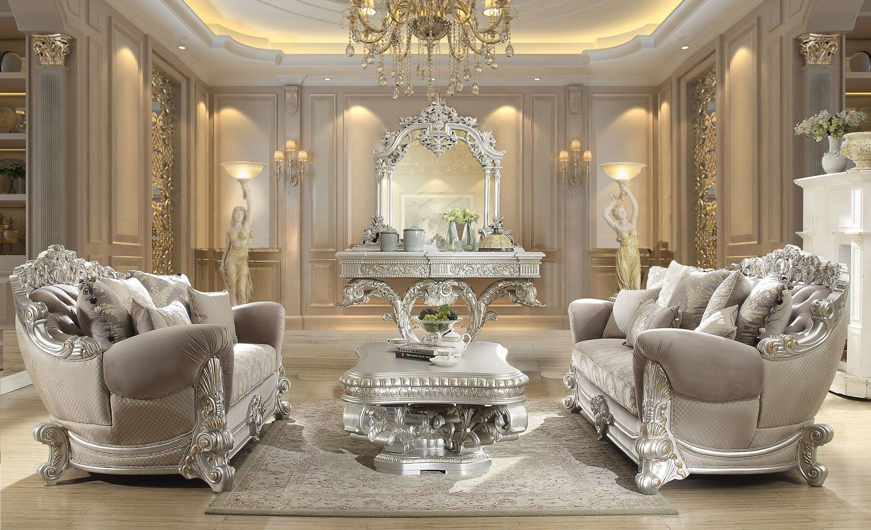 HD 372 Homey Design upholstery living room set Victorian ...