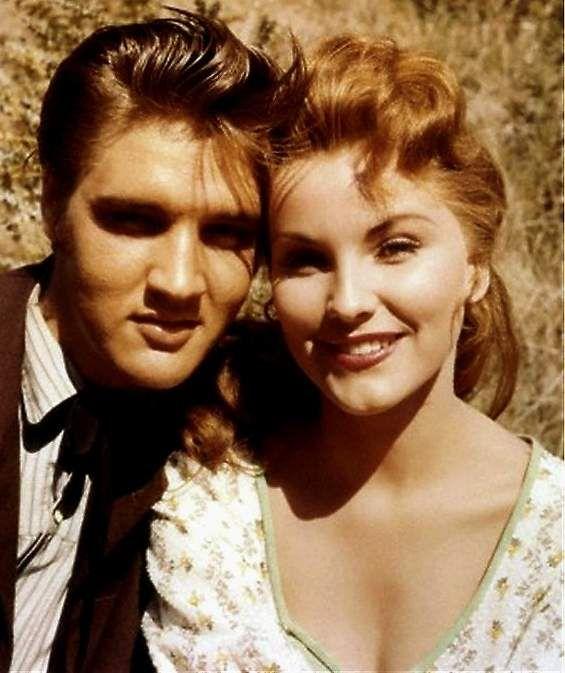 Elvis and Debra on the movie set in august 1956.