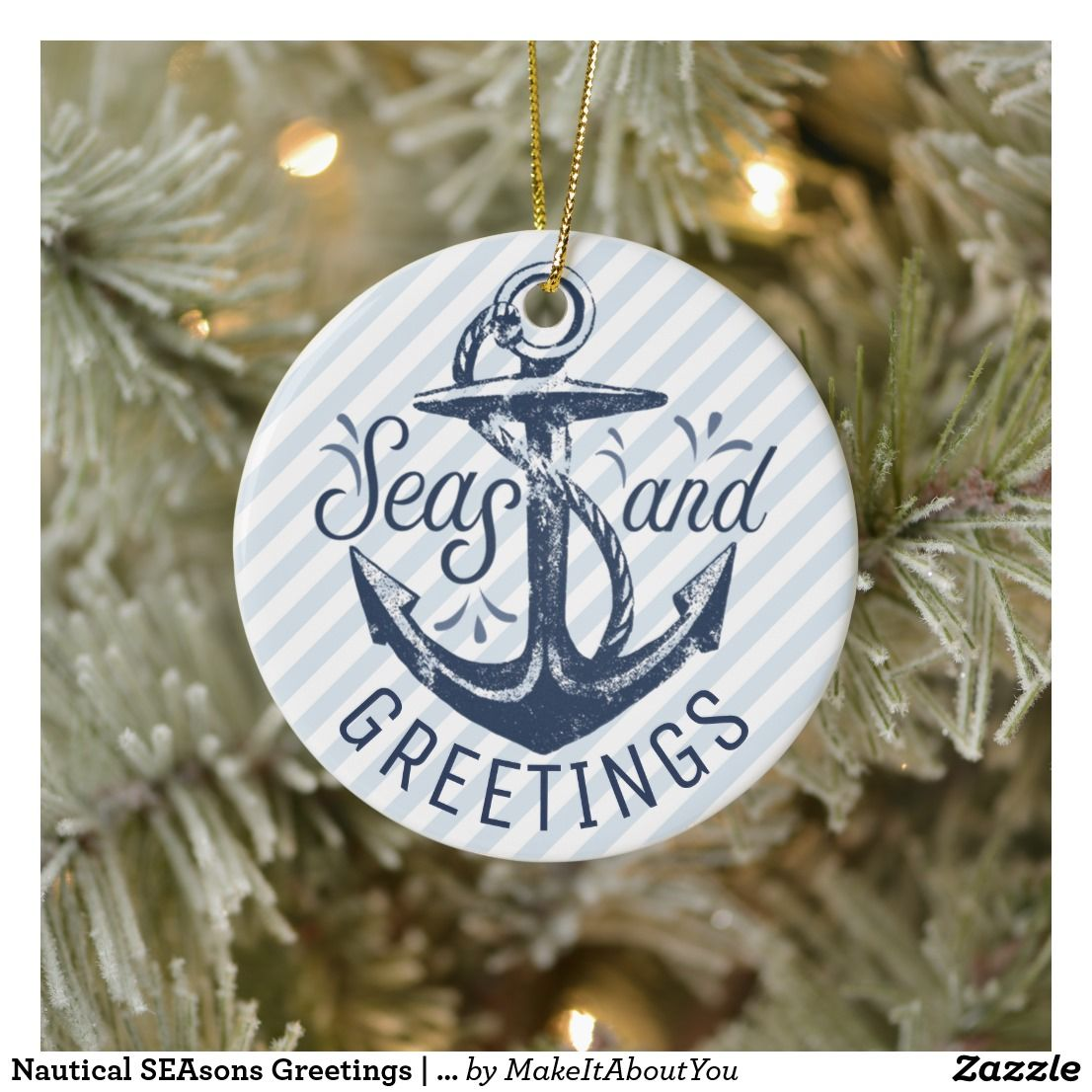 Nautical SEAsons Greetings | Blue and White Photo Ceramic ...