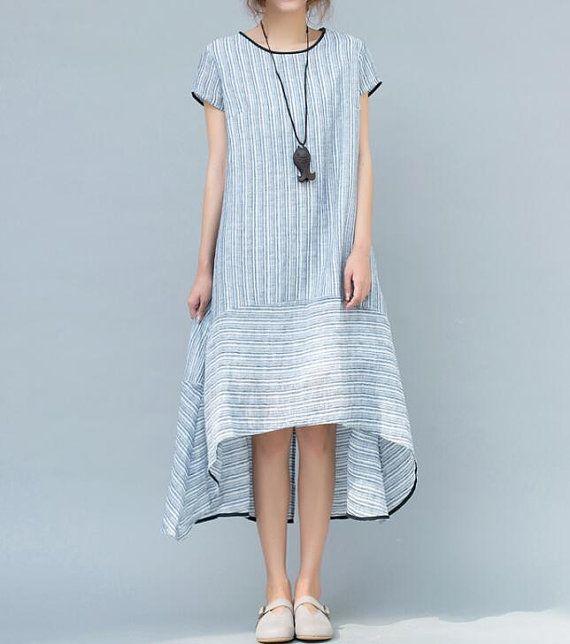 Light blue/ light pink asymmetrical Women summer dress by ...
