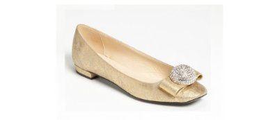 KATE SPADE Nadira Ballet Flat Vintage Gold Suede Womens Size 7m