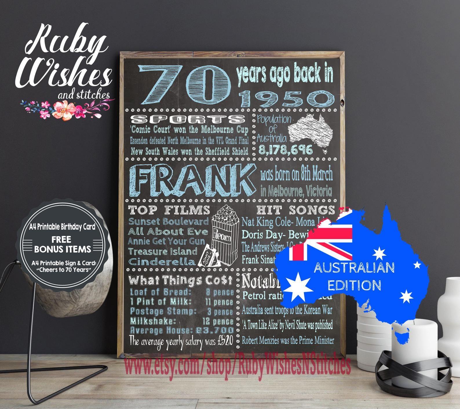 Personalised 70th Birthday 1950 Chalkboard Printable Jpg And Pdf Australian Birthday Card Printable Birthday Cards 70th Birthday