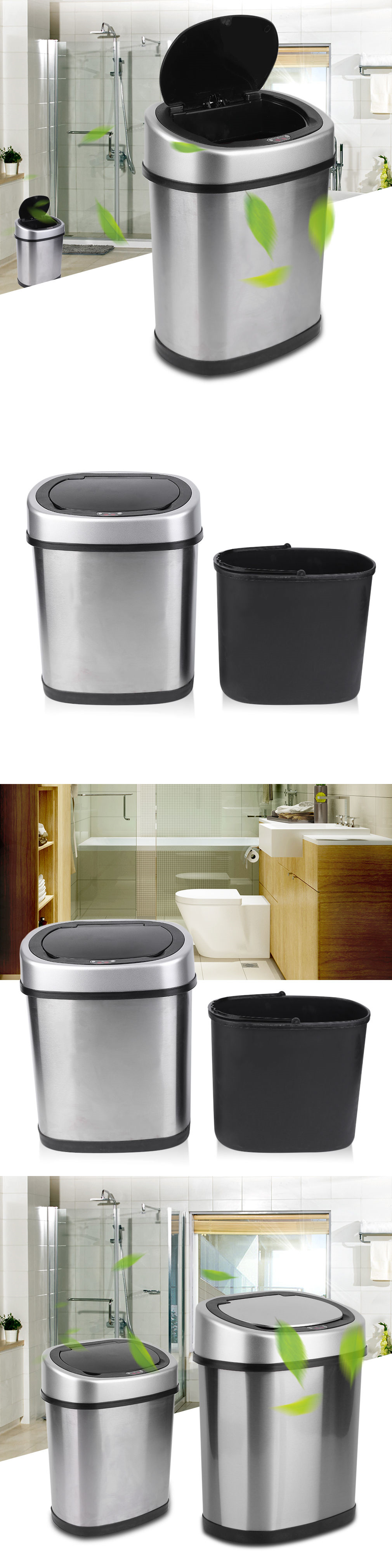 Trash Cans And Wastebaskets Prepossessing Trash Cans And Wastebaskets 20608 New 12L Touchfree Motion Sensor Inspiration Design