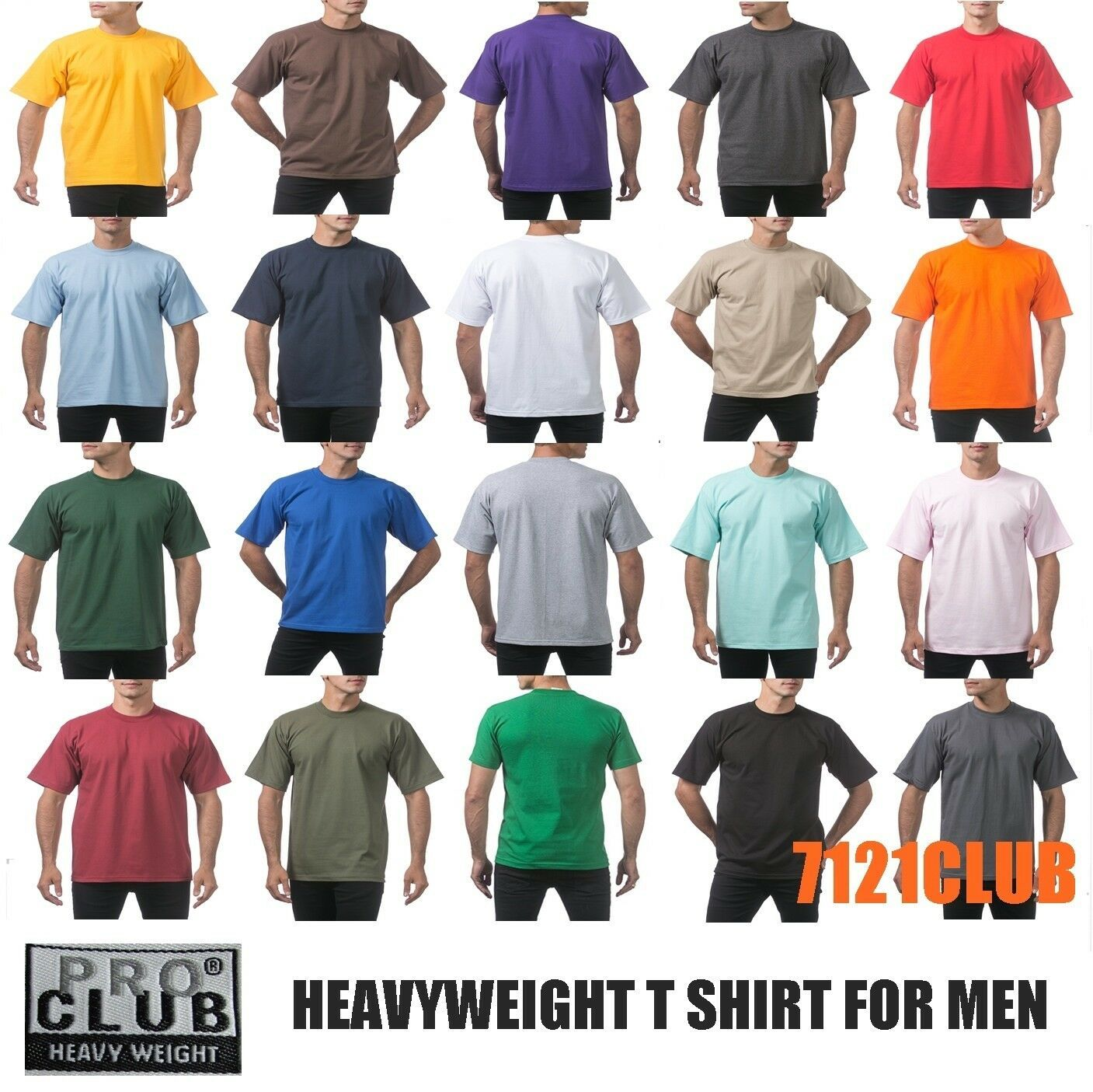 PRO CLUB MENS HEAVYWEIGHT V NECK T SHIRT PROCLUB SHORT SLEEVE WHITE BIG AND TALL