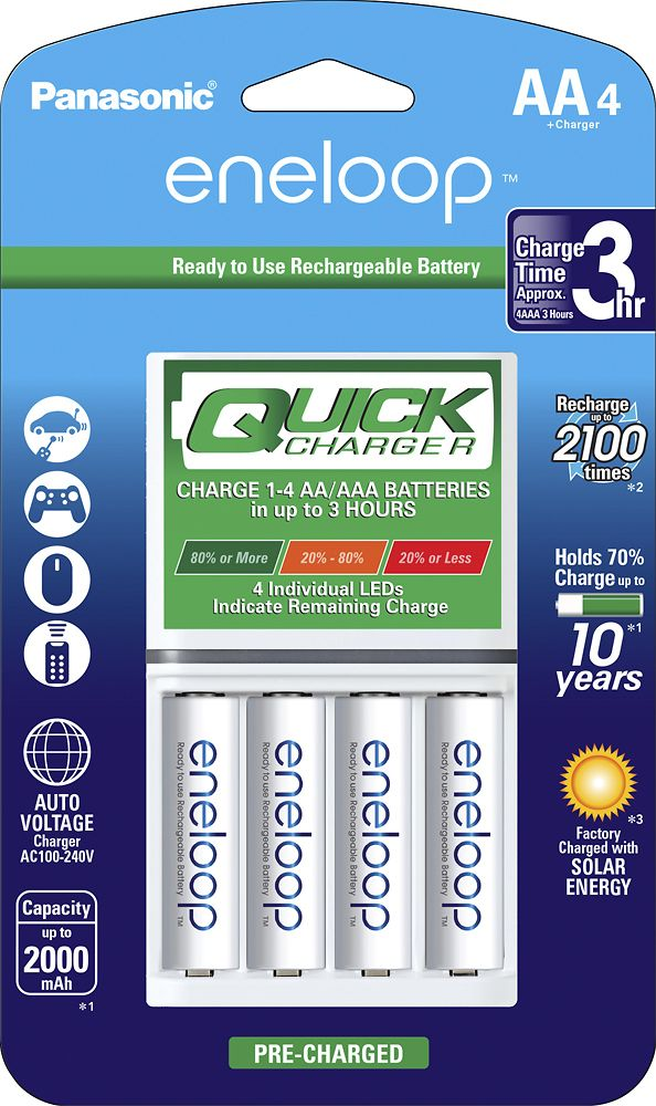 Panasonic Eneloop Quick Individual Battery Charger And 4 Aa Batteries Kit White K Kj55mca4ba Pack Best Buy Rechargeable Batteries Panasonic Battery Charger