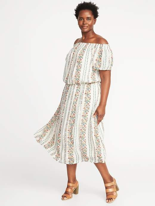 Old Navy Off-the-Shoulder Plus-Size Midi Dress | Products | Dresses ...