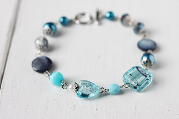 Heart of Sea Bracelet with Lampwork Glass Mother of by skyejuice
