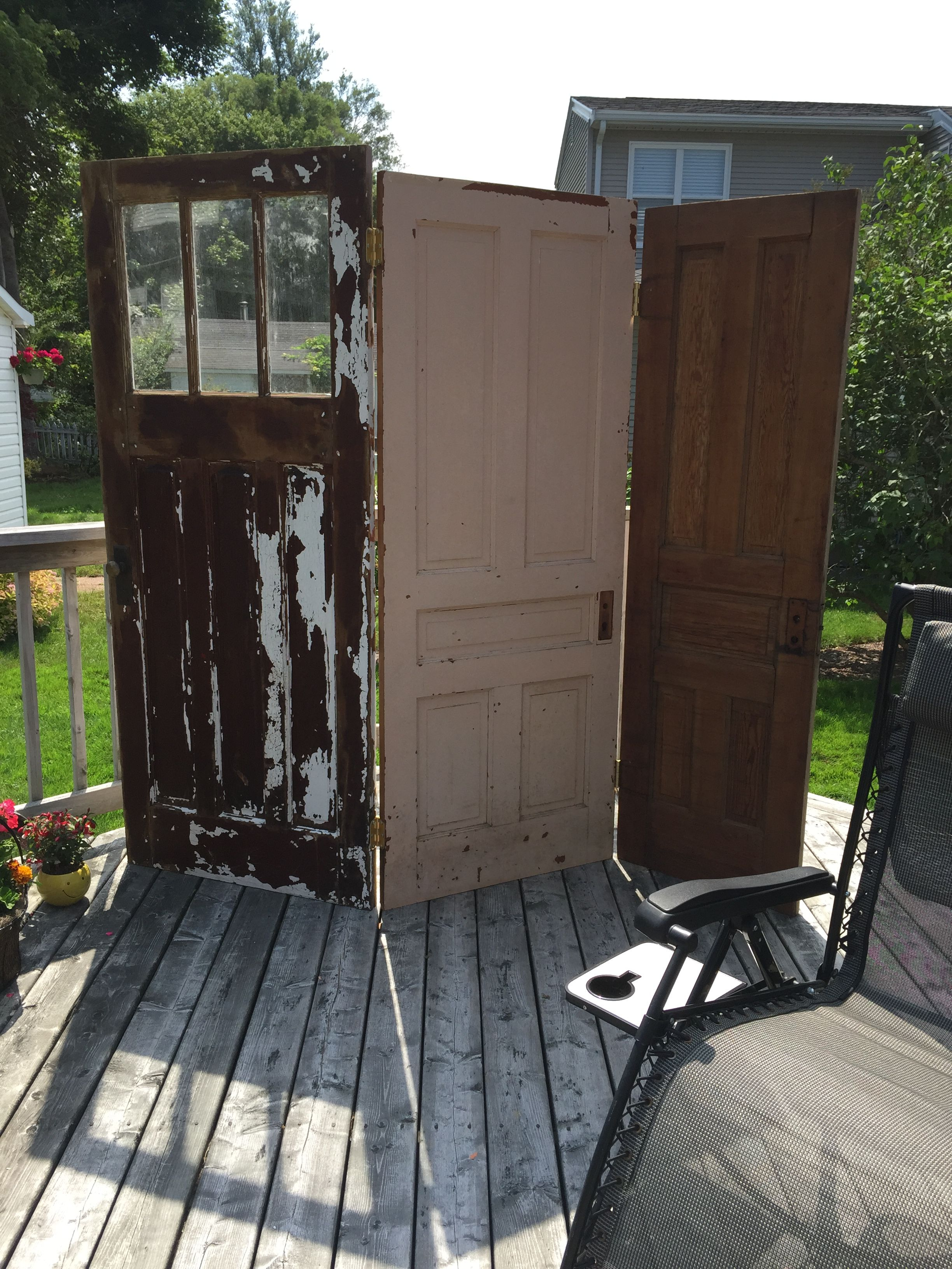 Old window ideas for outside  old door privacy screen put on casters  booth displays  pinterest