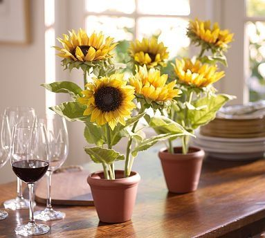 Faux Potted Sunflower