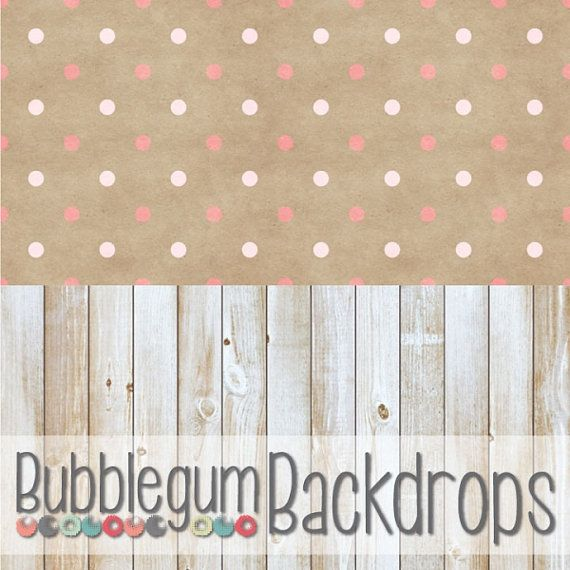 All in One Pink Polka and Blonde Wood - Vinyl Photography  Backdrop Photo Prop