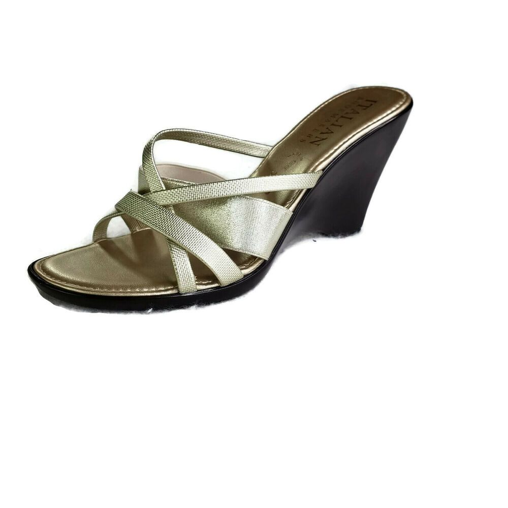 cbdd82a29fdb Italian Shoemakers Wedge Sandals Women Size 9 Gold Strappy Stretch Open  Back  ItalianShoemakers  Sandals