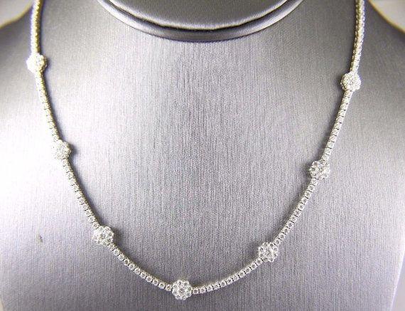 Round Diamond Cluster Flower Shape Tennis Necklace 18k White Gold 7 59ct Necklace Tennis Necklace Womens Necklaces