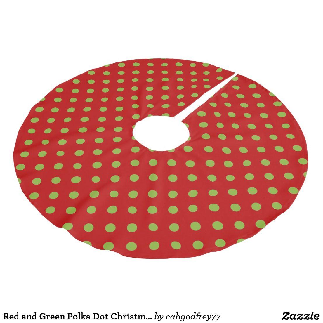 Red and Green Polka Dot Christmas Brushed Polyester Tree Skirt | Christmas tree skirt, Red ...