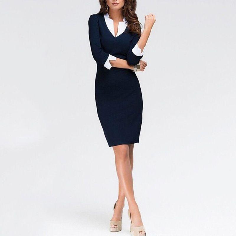 ac32a996edd8f9 Goedkope 2018 Zomer Zwart Kantoor Jurken Elegante Business Mode Lange  Mouwen Potlood Schede Jurk Dames Casual