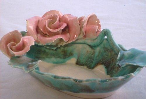 vintage folk art lora aileen california pottery dish