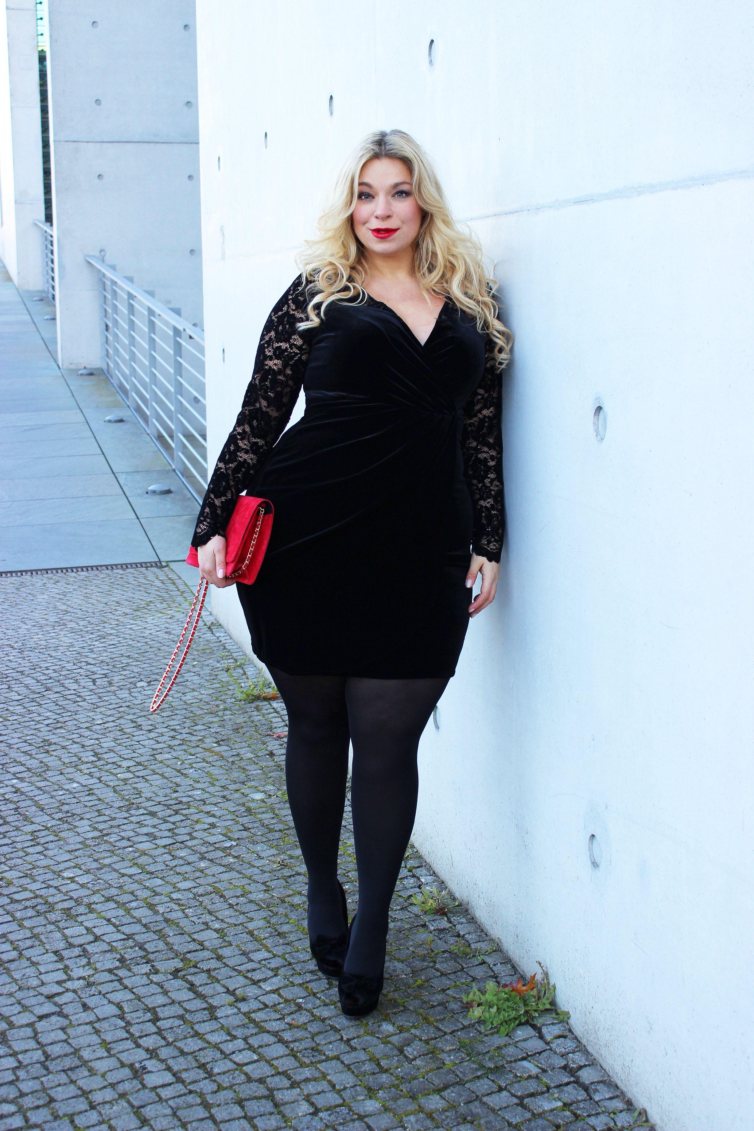 plus size model caterina pogorzelski plus size look samtkleid