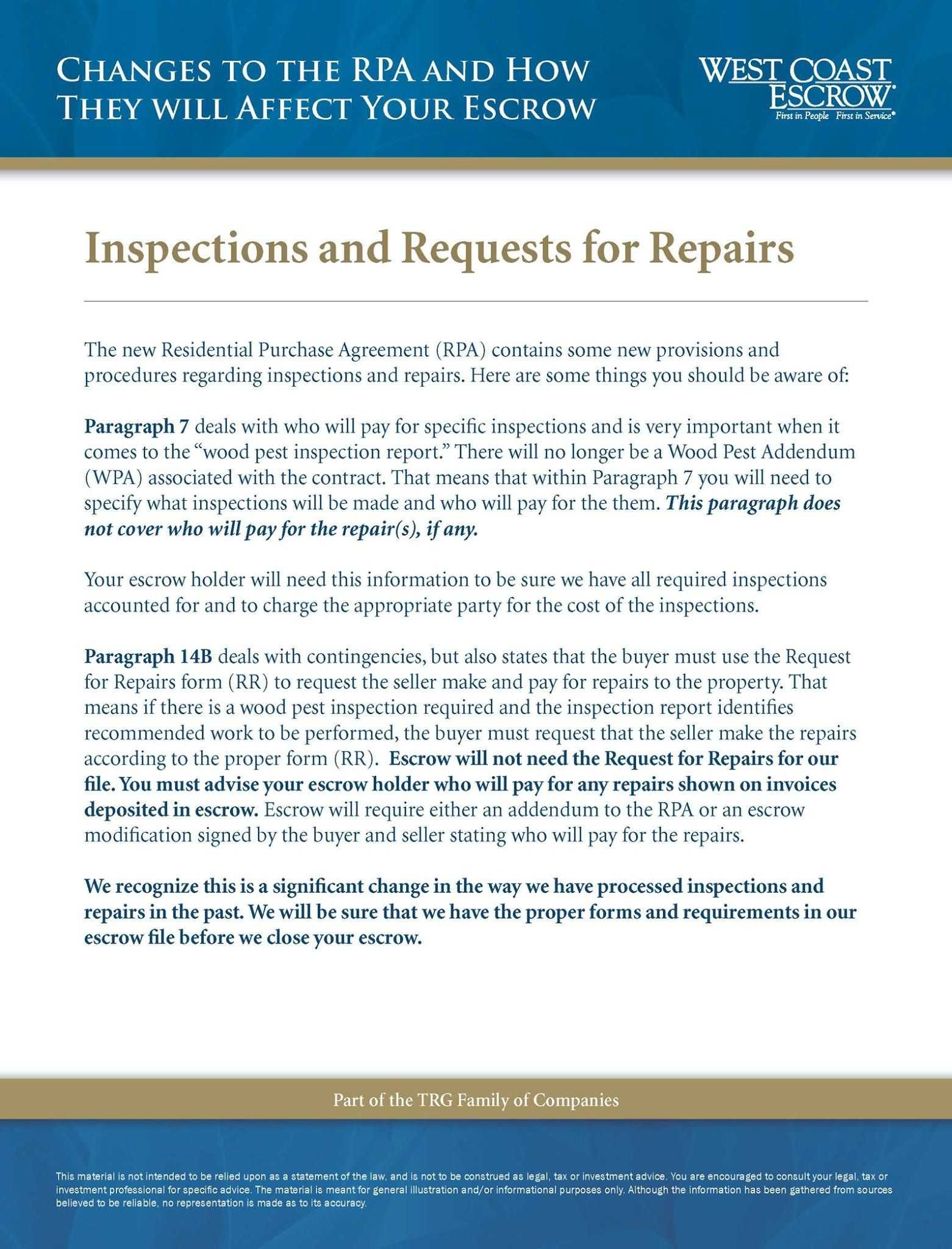 Informational Escrow Flyer Rpa Inspections And Requests For