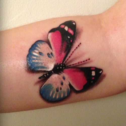 25 Great Ideas About Realistic Butterfly Tattoo On: Cotton Candy Colored Realistic Butterfly