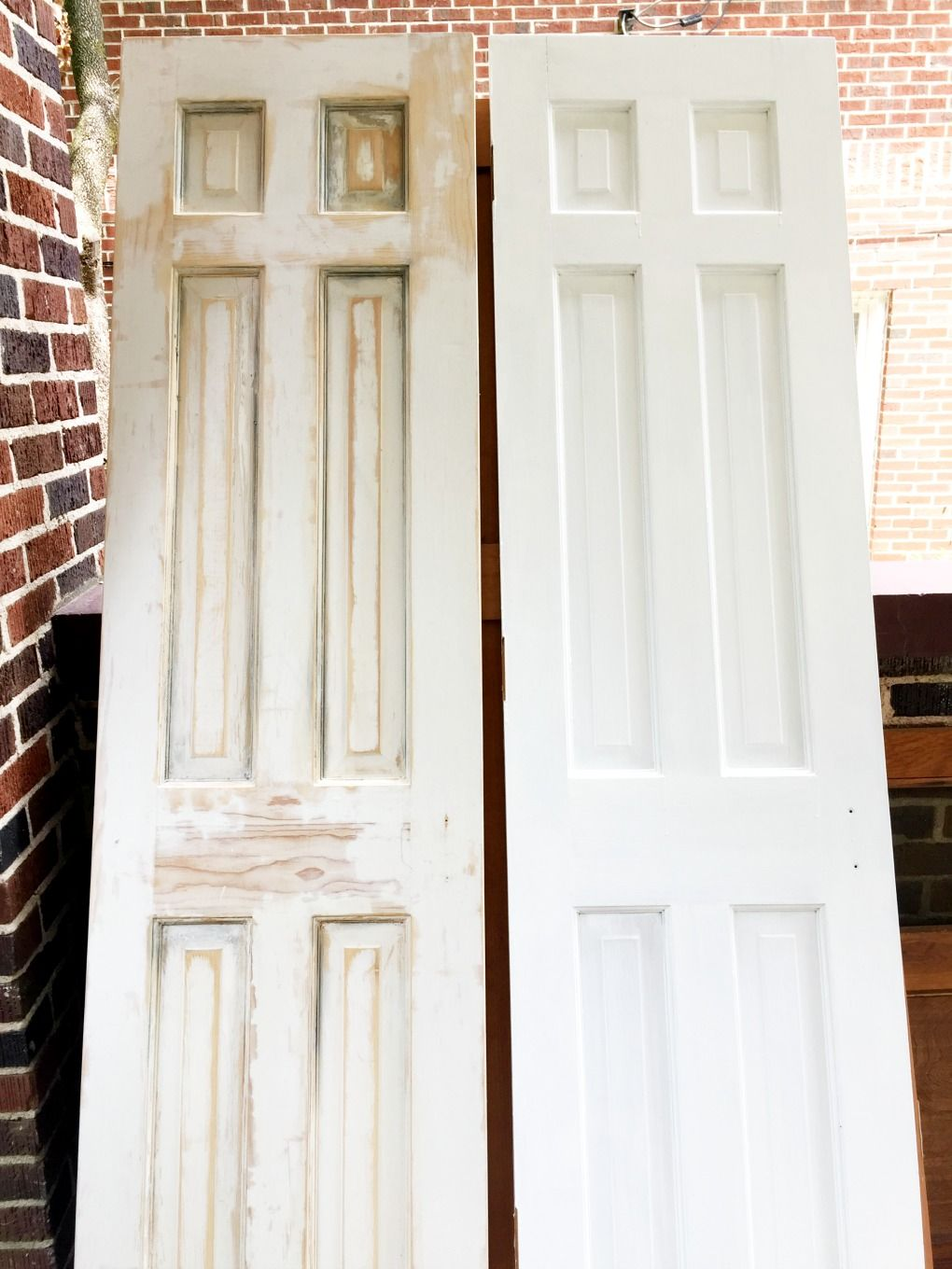 How To Strip Paint Off Wood Doors Stripped Door On Left Compared