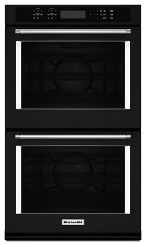 Black 27 Quot Double Wall Oven With Even Heat True Convection