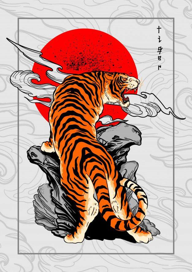 Tiger Japan Style Tattoo Background in 2020 | Tattoo ...