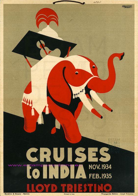 ROMOLI CRUISES TO INDIA 1934 1935 LLOYD TRIESTINO 24X34