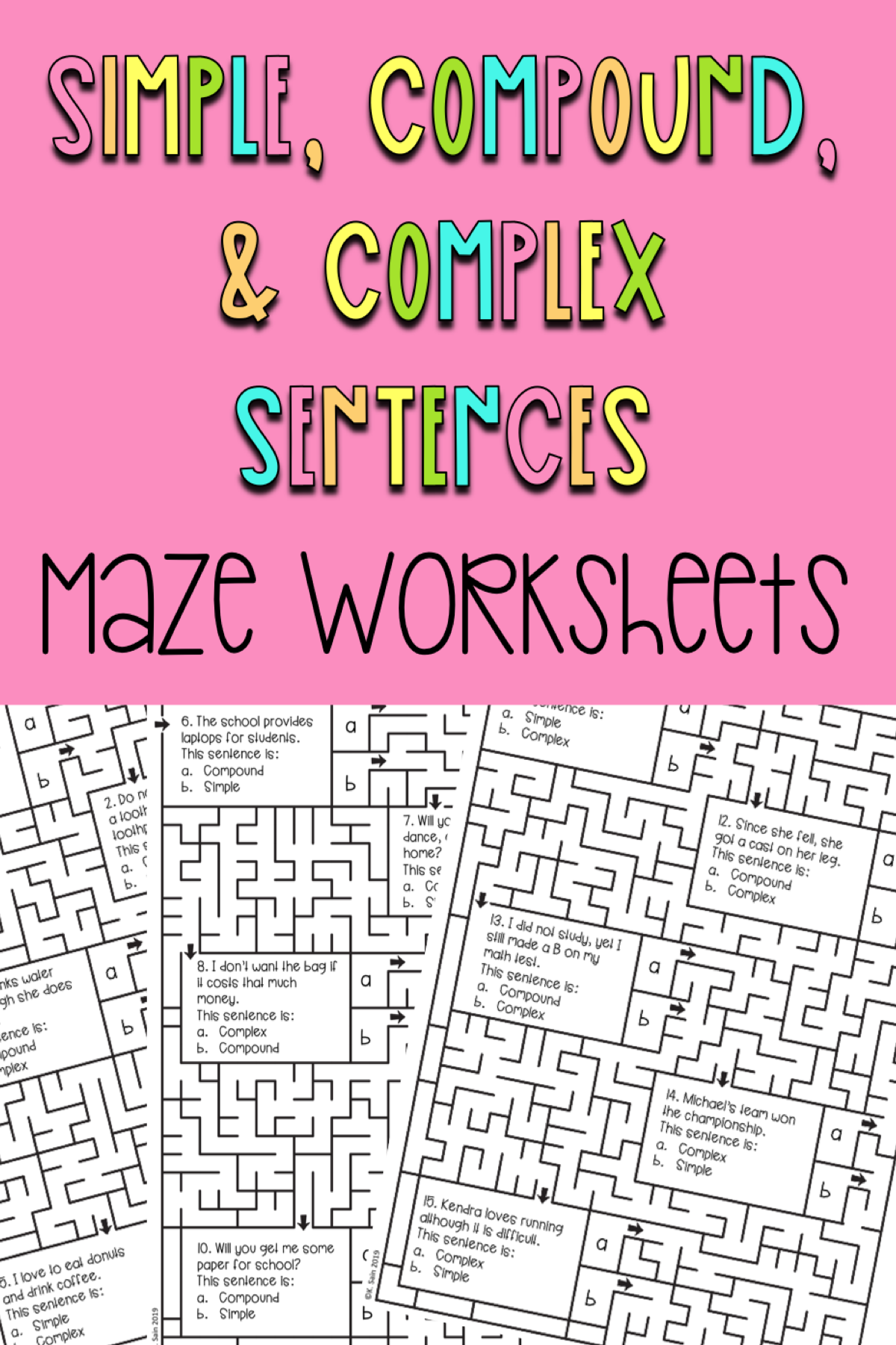 Simple Compound And Complex Sentence Maze Worksheets