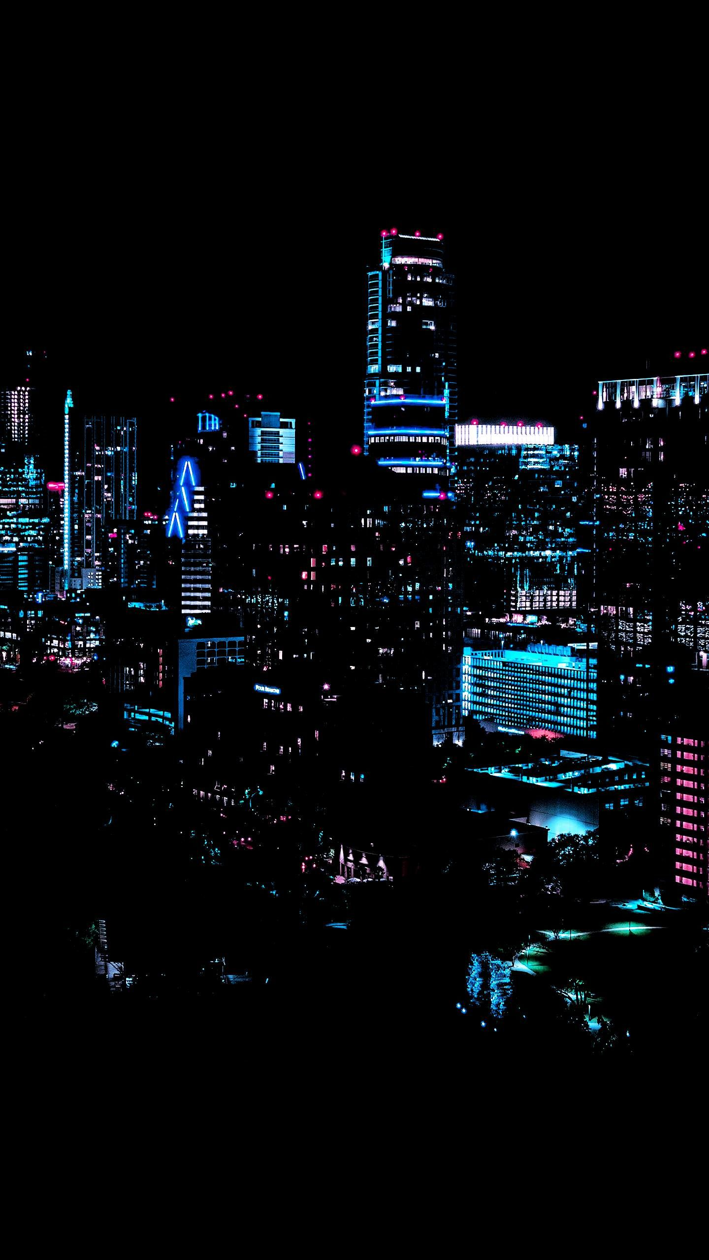 Neon City City Lights Wallpaper Cityscape Wallpaper Dark