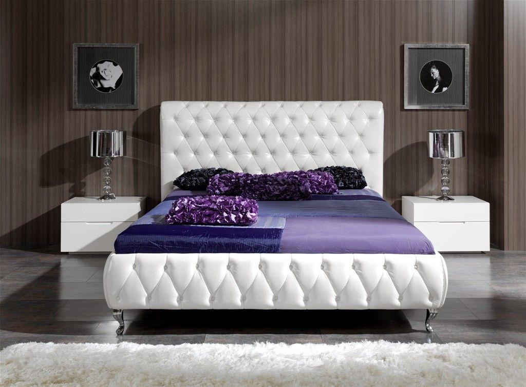 Cama Moderna Tapizada Blanco Bremen | Beds :) | Pinterest | Room ...